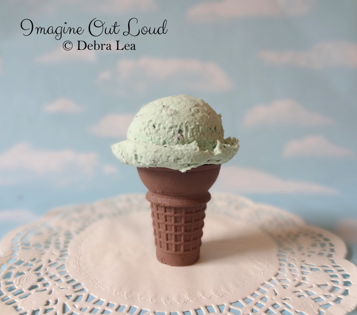 Fake Ice Cream Chocolate Mint Chip Single Scoop On Faux