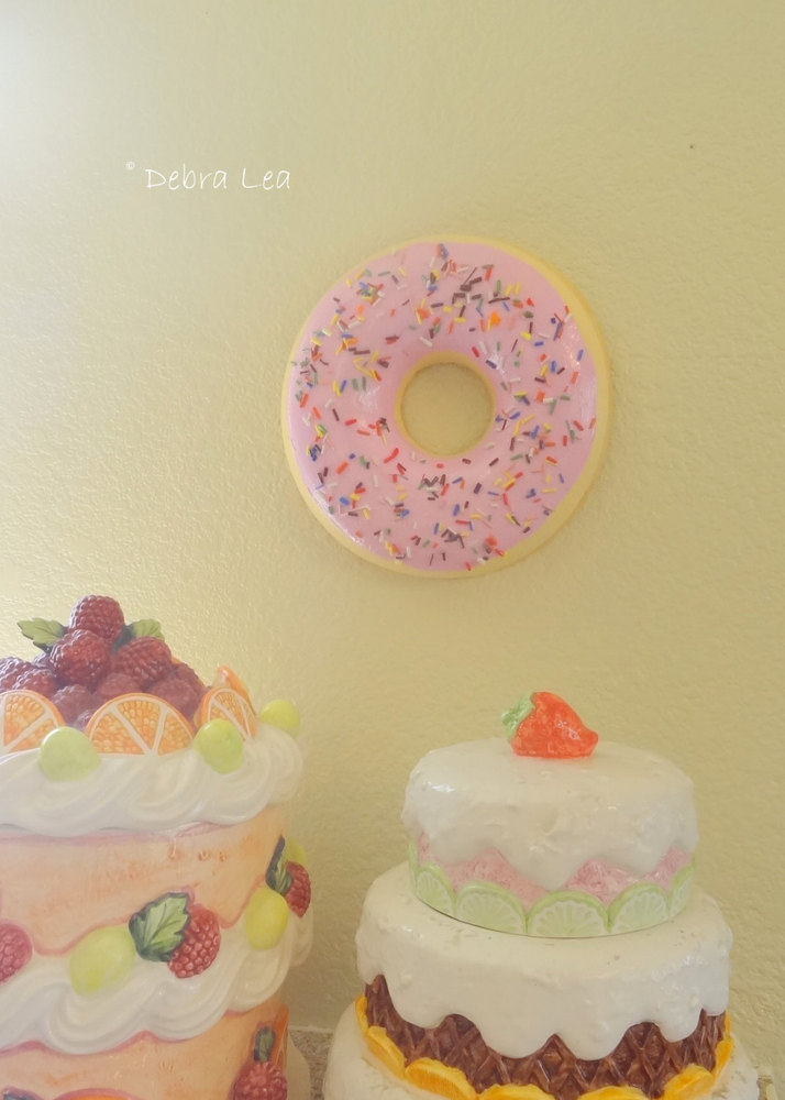 GIANT Fake Doughnut Pastel Pink Frosting with Sprinkles WALL Art